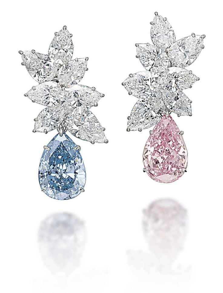 A Pair Of Coloured Diamond Ear Pendants In Fancy Blue And Pink Diamonds Achieved