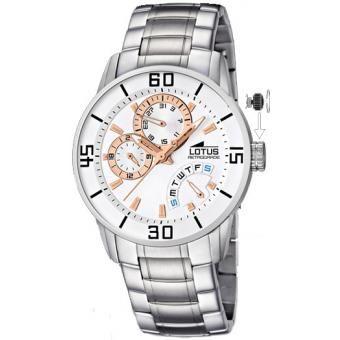 Avec son bracelet en acier et ses multiples fonctionnalités, cette montre Lotus est très masculine !