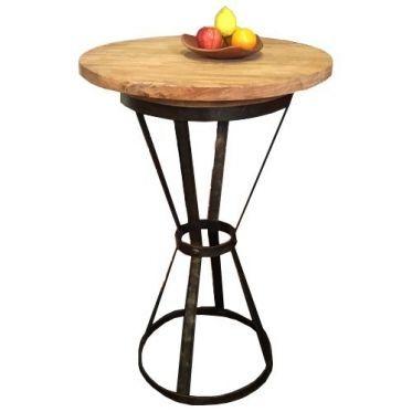 Table haute bois et acier massif. Mobilier robuste pour les professionnels type industriel, vintage. Plateau massif teck recyclé de 70x70 cm Pied acier vernis