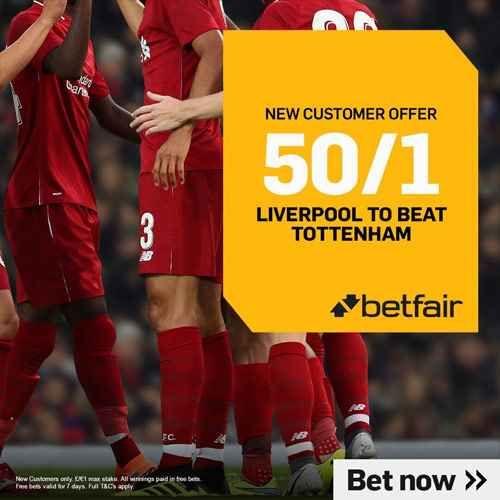 Betfair Promo Code for 50/1 Liverpool to beat Tottenham in