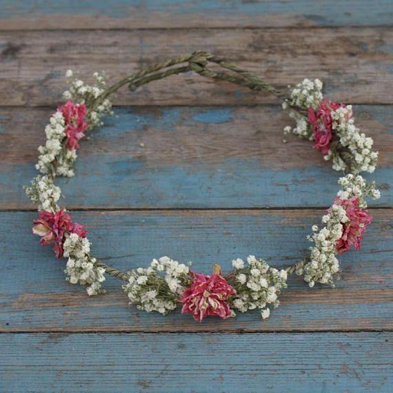 Boho Candyfloss Dried Flower Hair Crown