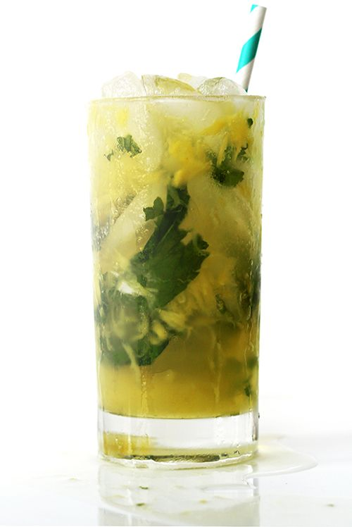 Pineapple Mojito Recipe from The Wynn in Las Vegas. 12 mint leaves 2 oz. fresh pineapple chunks 1 oz. fresh lime juice 1 oz. simple syrup 2 oz. pineapple-coconut rum (like Bacardi Fusion) ½ oz. Grand Marnier 3 oz. ginger ale