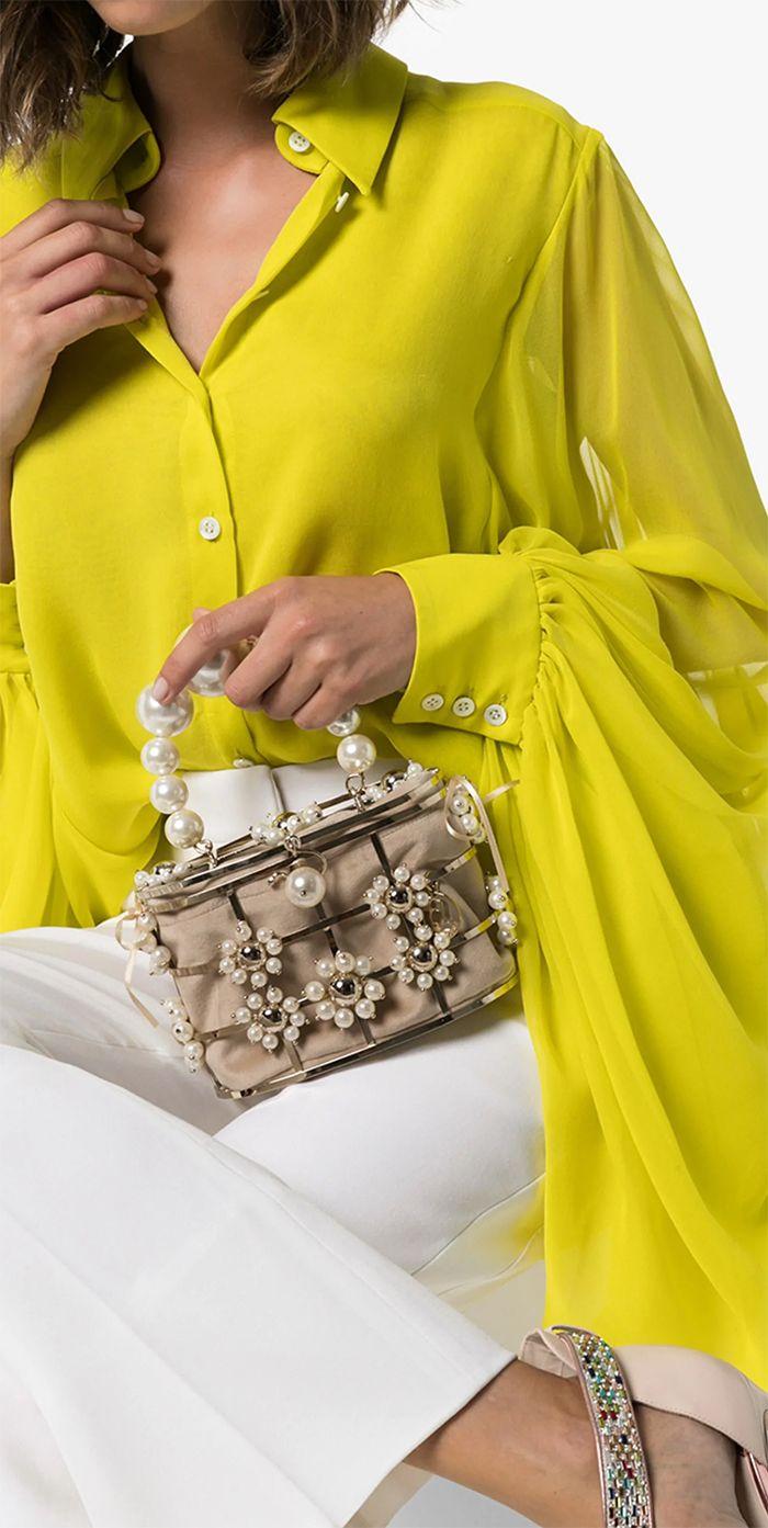 This Gold Tone Rosantica Lennon Pearl Clutch Bag A Metallic