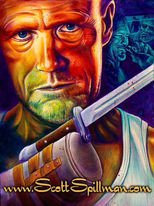 Merle Dixon from the Walking Dead. Painting by Scott Spillman