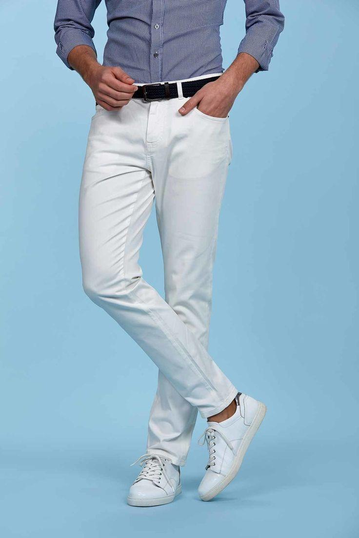 5 Cepli Beyaz Slim Fit Pamuk Kanvas Pantolon