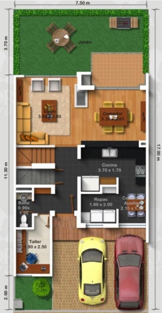 Plano de casa moderna con jardín delantero