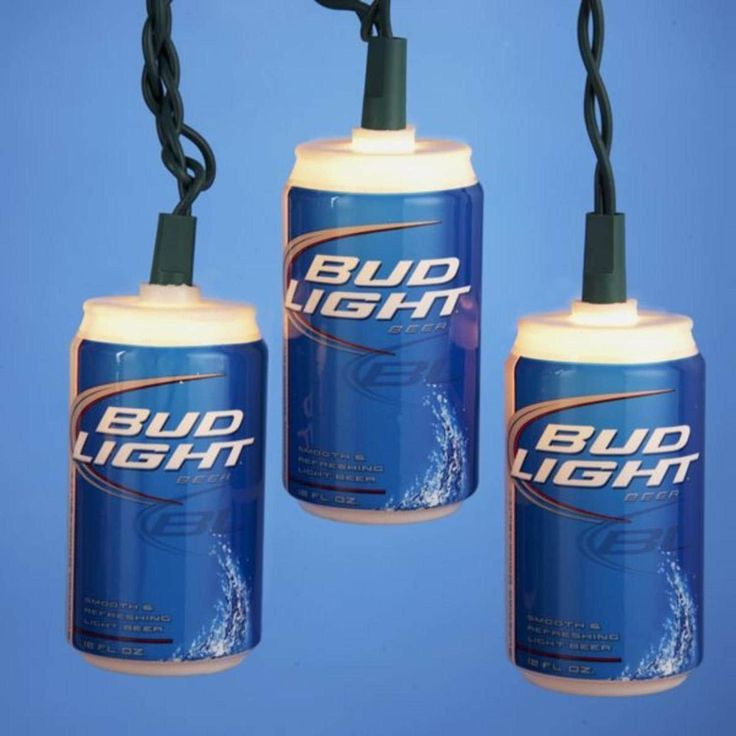 Set of 10 Anheuser-Busch Bud-Light Beer Can Christmas Lights - Green Wire, Clear
