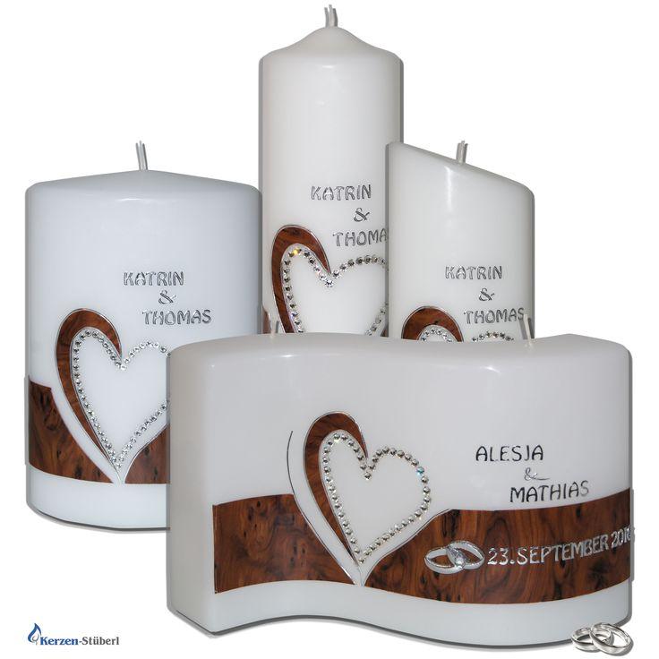 Aufgrund der großen Nachfrage, haben wir unser Linie mit Hochzeitskerzen mit einem Herz aus Swarovski Kristallen und Wachsverzierungen in Holzoptik erweitert.