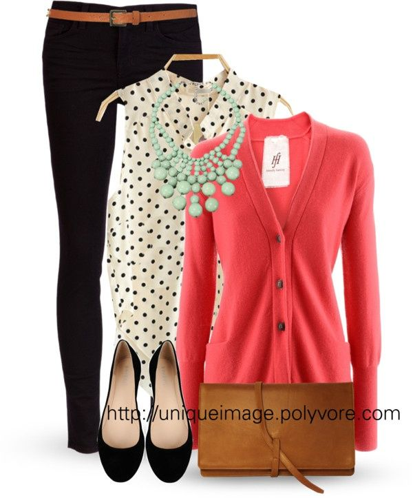 Black denim, polka dotted top, coral cardigan and mint statement necklace...love the style!