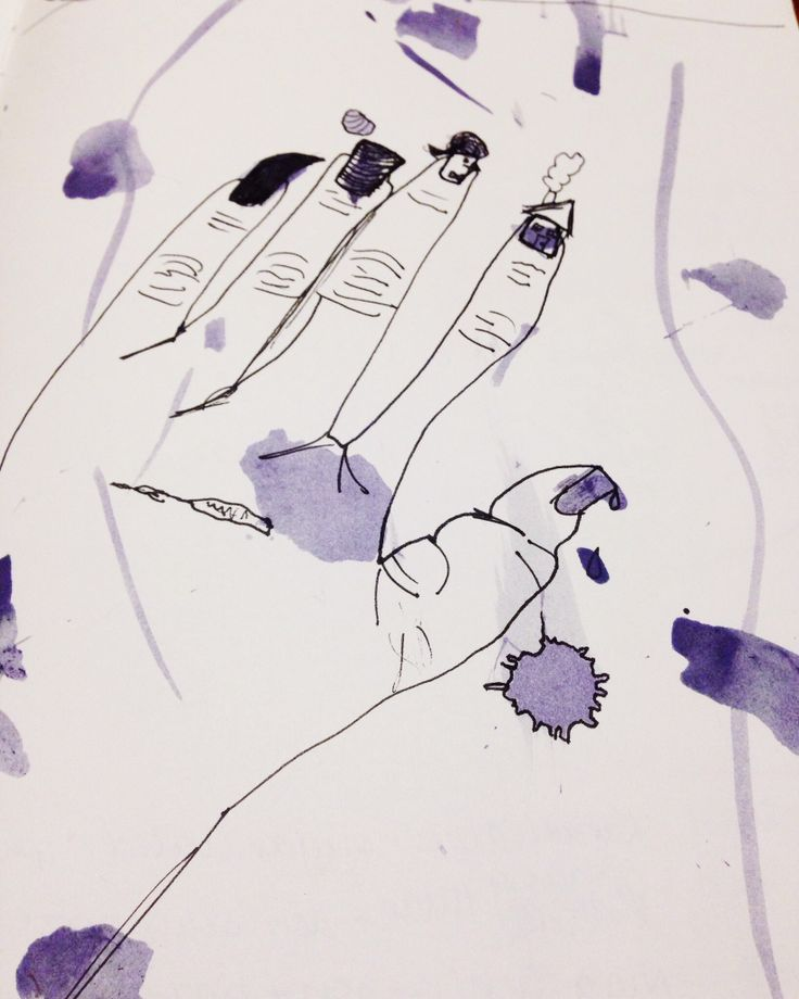 Sara's hands journal entry. May 2014. Ink and flower petal ink on paper. Sara Ferrington. www.facebook.com/fershaw.art