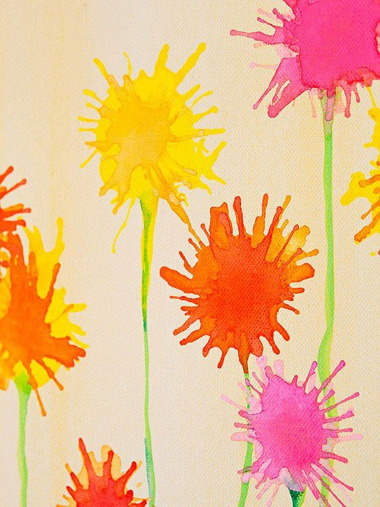 Oral Motor Watercolor Flowers!  Put paint on paper, let kids blow thru a straw to spread it, then paint green stem w/q-tip for fine motor. Visit pinterest.com/arktherapeutic for more #oralmotor therapy ideas