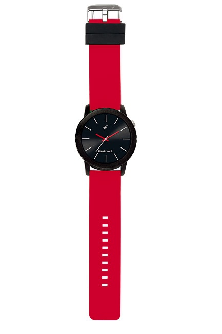 Part of Tees' first colours collection, this large oversized watch pairs a black case and dial with red straps and hands. The loops are in black to further enhance the look of the watch.