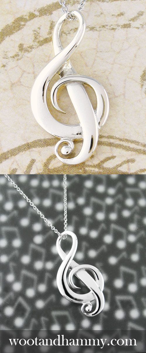 Full of the life and energy that we think of as music, dramatic curves and swirls create the form of the treble clef in three-dimensional space.  Light dances on the rounded edges of this sterling silver pendant just as music dances in your heart.  The upper loop of the treble clef elegantly serves as the loop for the necklace chain.