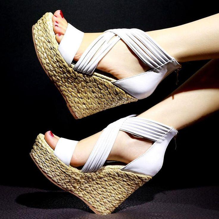 Genuine Leather Platform Wedge Sandals