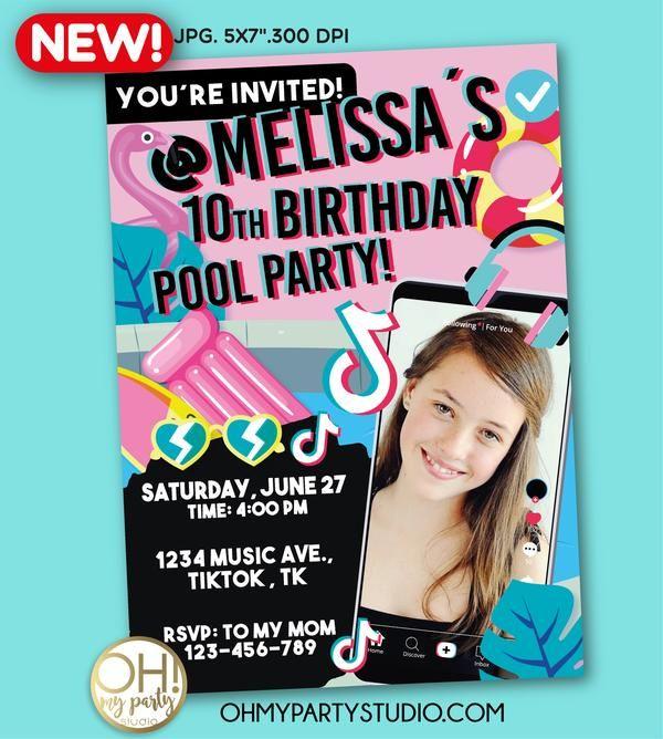 Tiktok Birthday Party Invitation Pool Birthday Party Party Invitations Invitations
