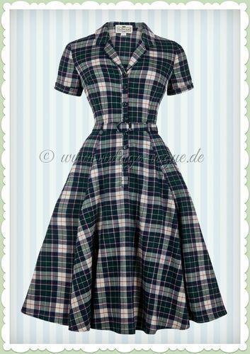 Collectif 40er Jahre Vintage Karo Kleid - Caterina Sherwood - Navy Grün