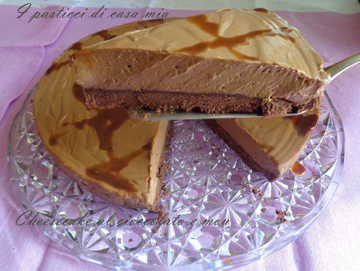 Cheesecake al cioccolato e mou con agar agar. Morbida al palato avvolgente nel gusto.