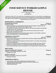 Food Service Industry Resume  Service Industry Resume