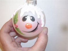 painted snowmen | Hand painted snowman ornament, free personalization
