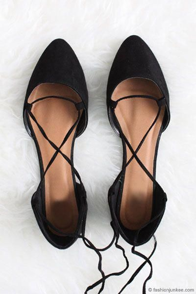 b2aa25bad7e7 Faux Suede Pointy Toe Lace Up Strappy Ballet Ballerina Flats-Black   Promshoes