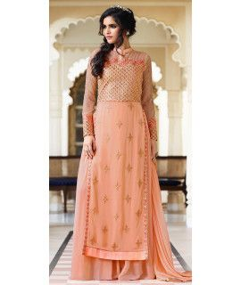 Wonderful Orange Georgette Designer Salwar Suit.