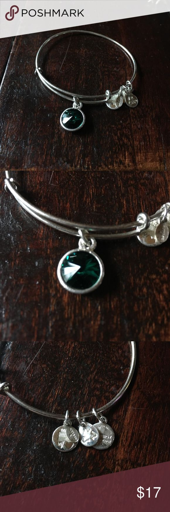 Alex & Ani emerald birthstone bracket! Good condition! Emerald stone. Price flexible just looking to sell! 😊💚💍 Alex & Ani Jewelry Bracelets