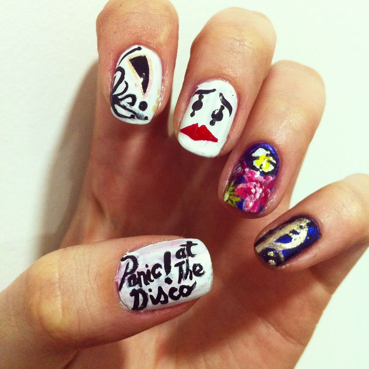 a series of my favourite bands made nail art. panic at the disco, pretty  odd , build a god then we will talk, holy trinity of emo - Best 25+ Emo Nail Art Ideas On Pinterest Nail Places Near Me