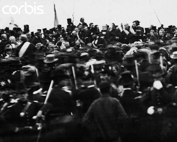 Abraham Lincoln at Gettysburg Address.  Thursday, Nov. 19, 1863. He can be seen. He is seated next to his bodyguard, Ward Hill Lamon, and to the far right of Governor Andrew G. Curtin of Pennsylvania. wildwestmurder.jpg