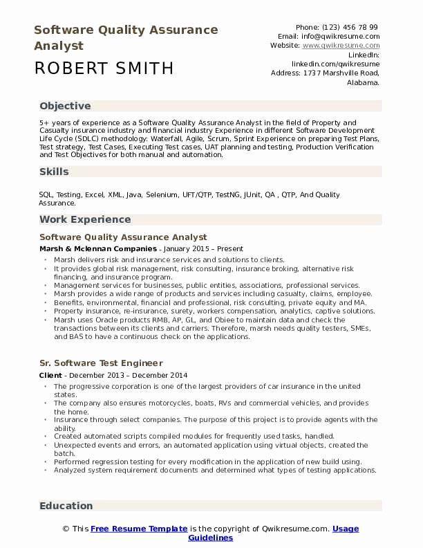 Quality Assurance Resume Example Beautiful Software Quality Assurance Analyst Resume Samples Resume Examples Customer Service Resume Resume Objective