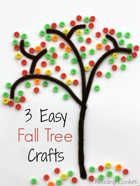 Three easy fall tree crafts for kids - if I can squash my replusion at buying flourescent artificially dyed cereal.