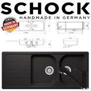 Kit chiuveta Schock Formhaus D-200 si baterie Schock Cosmo Extractabila Nero