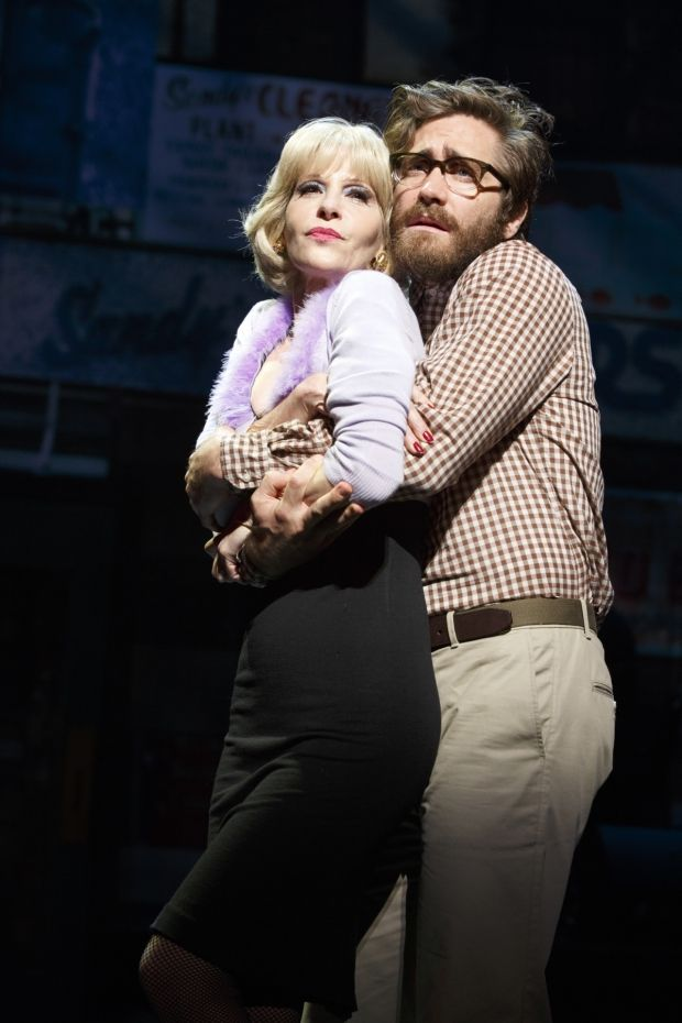 Jake Gyllenhaal snuggles up to Ellen Greene as Seymour and Audrey in Little Shop of Horrors.
