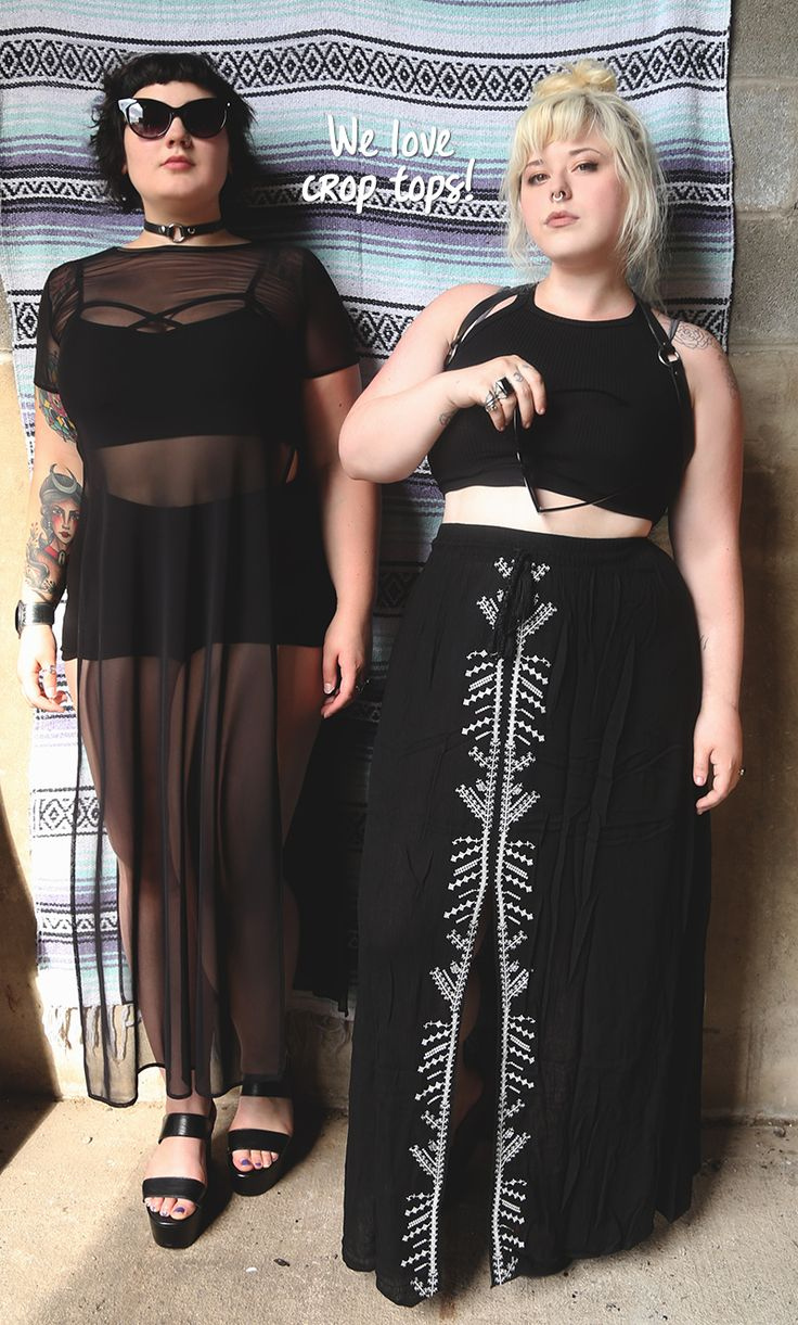 Summer Goth layers for days. Crop tops, harnesses, and mesh = cool for the summer and cute as hell. #curvywarrior