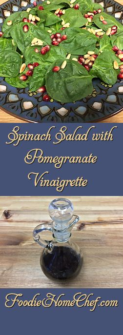 Spinach Salad with Pomegranate Vinaigrette - Because of it's color scheme, this salad makes a beautiful & healthy addition to your Christmas dinner table. But why stop there... add this to your salad rotation any time of the year, just as I have! --------- #Food #Cooking #Recipes #Recipe #Salad #SpinachSalad #SaladDressing #SaladDressingRecipe #Vinaigrette #HomemadeSaladDressing #HealthyRecipes #ChristmasRecipes #Vegetarian #VegetarianRecipes #Vegan #VeganRecipes #Vegetables