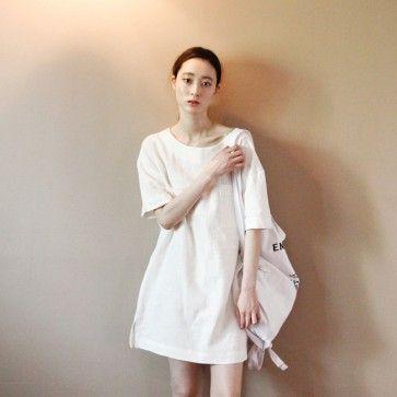 [ White Linen #Dress ] A #whitedress, #linendress featuring chest pockets. Round neckline. Short sleeves. Semi-sheer. Boxy fit. #cutedress #basicdress #simpledress #asianfashion #koreanfashion #fashiontoany