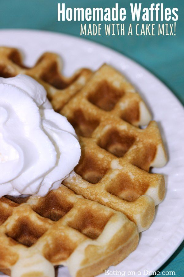 Try this easy cake mix waffles recipe. They are delicious homemade waffles made with a cake mix! They are a fun and fast dessert idea without heating up the kitchen.