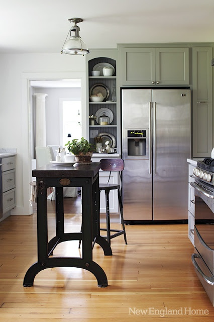 clean: Green Cabinets, Open Shelves, Color Schemes, Color Combos, Cabinets Color, Kitchens Islands, Kitchen Islands, Kitchens Idea, New England Homes