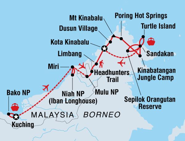 Travel through the wild, untamed lands of beautiful Borneo. From magnificent Mt Kinabalu to wild Bako park and pristine Turtle Island.