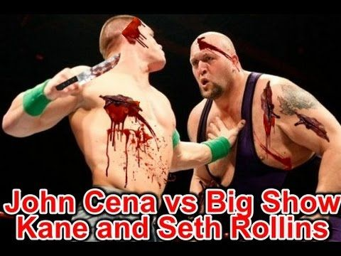DailY wWe Raw WWE John Cena vs Big Show, Kane and Seth Rollins   Handica...