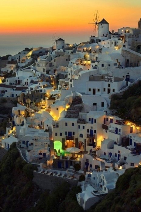 Santorini, Italy.  The caldera is the bit in the middle, this is Oia, where you go to see the sunset :-)