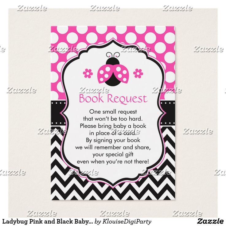 Ladybug Pink and Black Baby Shower Book Request Business Card