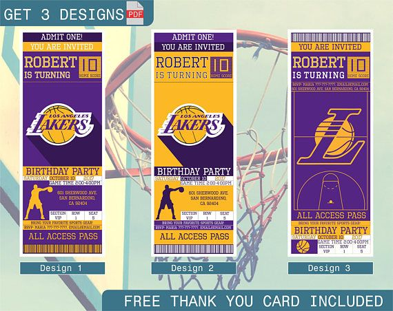 Los Angeles Lakers Birthday Invitation Printable Ticket Party