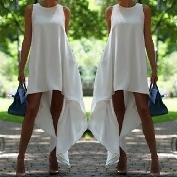 $12.27 Stylish Round Collar Sleeveless Solid Color Asymmetrical Women's Dress