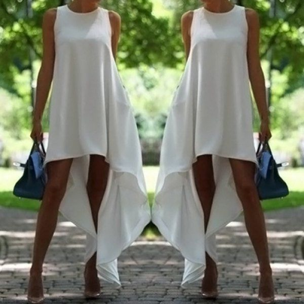 Wholesale Stylish Round Collar Sleeveless Solid Color Asymmetrical Women's Dress Only $4.19 Drop Shipping | TrendsGal.com