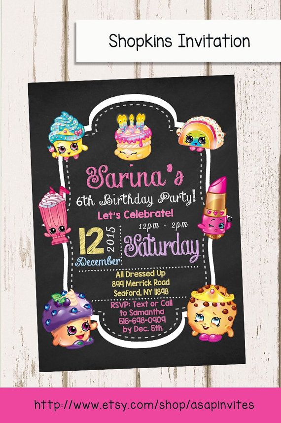 SHOPKINS BIRTHDAY INVITAION Shopkins Shopkins by Asapinvites