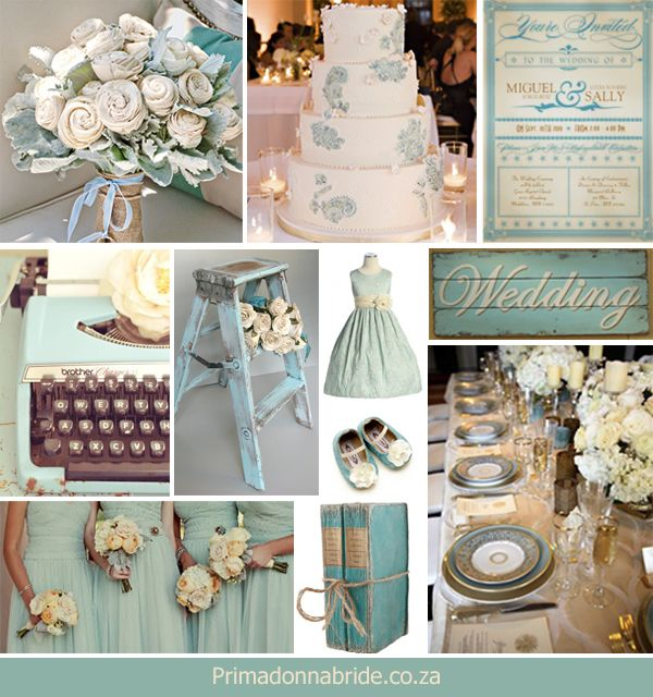 Vintage blue and ivory