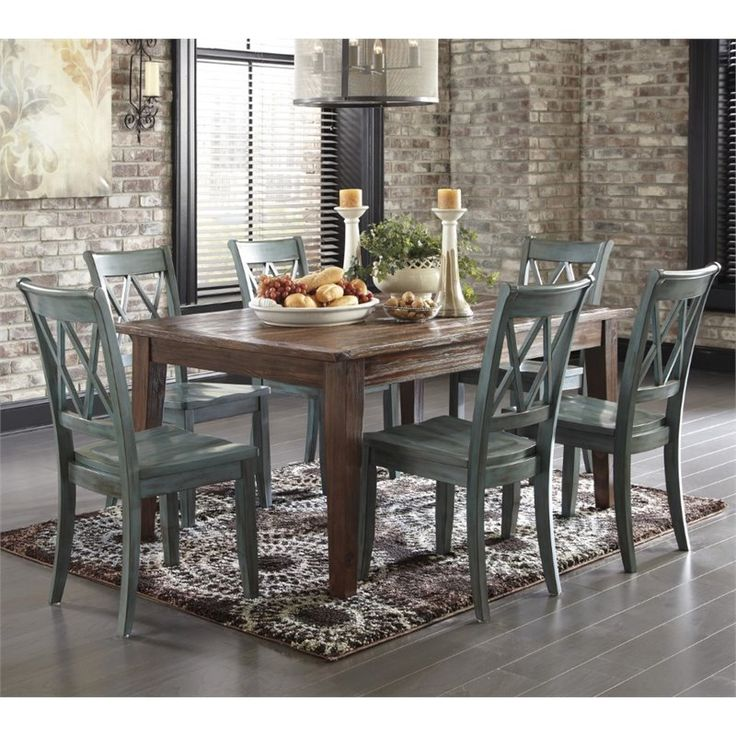 Get Your Mestler Dark Brown Rectangular Dining Room Table 4 Blue Green Side Chairs At Price