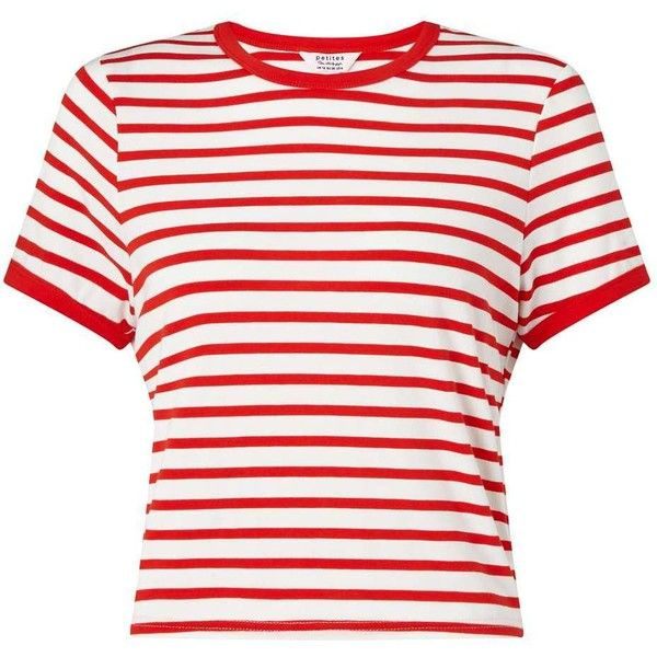 Miss Selfridge Petites Red Stripe T- Shirt featuring polyvore, women's fashion, clothing, tops, t-shirts, shirts, red, crop tops, petite, round neck t shirt, white stripes t shirt, polyester t shirts, red crop top and t shirt