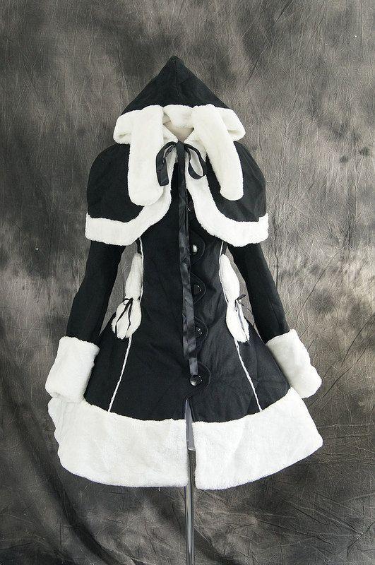 procosplay: Black Winter Jacket Bunny Gothic Lolita Cosplay Stage Costume VG-005 (Etsy: $190.00)