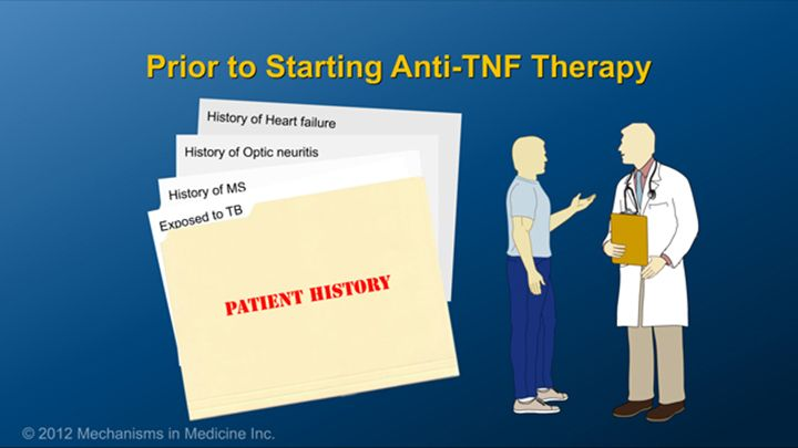However, patients should inform their doctors if they have had prior exposure to tuberculosis, a history of multiple sclerosis or optic neuritis, or severe congestive heart failure.slide show: preparing for ibd therapy. this slide show describes ways patients with inflammatory bowel disease ibd can prepare for their therapy and medications.